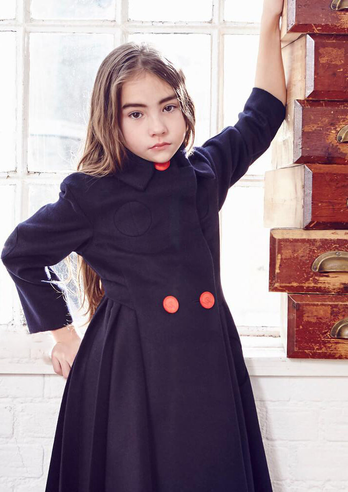 Owa Yurika Hana Navy Winter Wool Coat