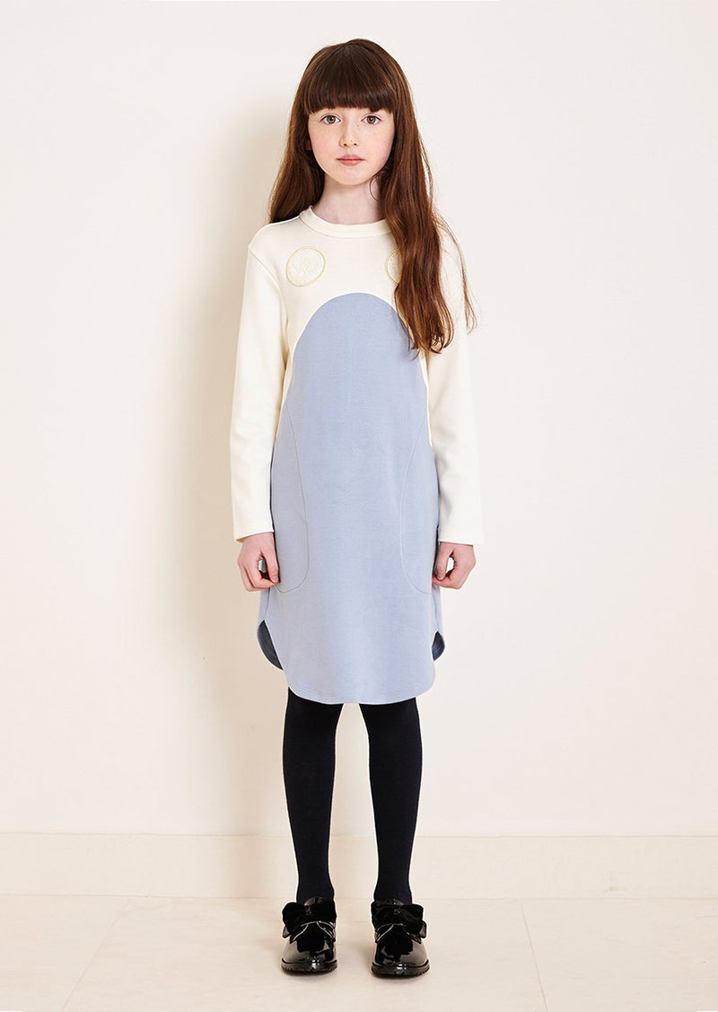 Owa Yurika Erina Girls Jersey Dress Cream and Pale Blue