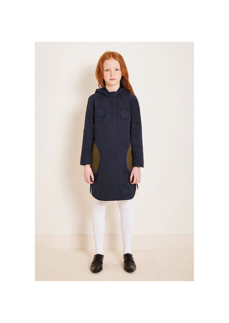 Owa Yurika Girls Unisex Arabella Hooded Raincoat Navy