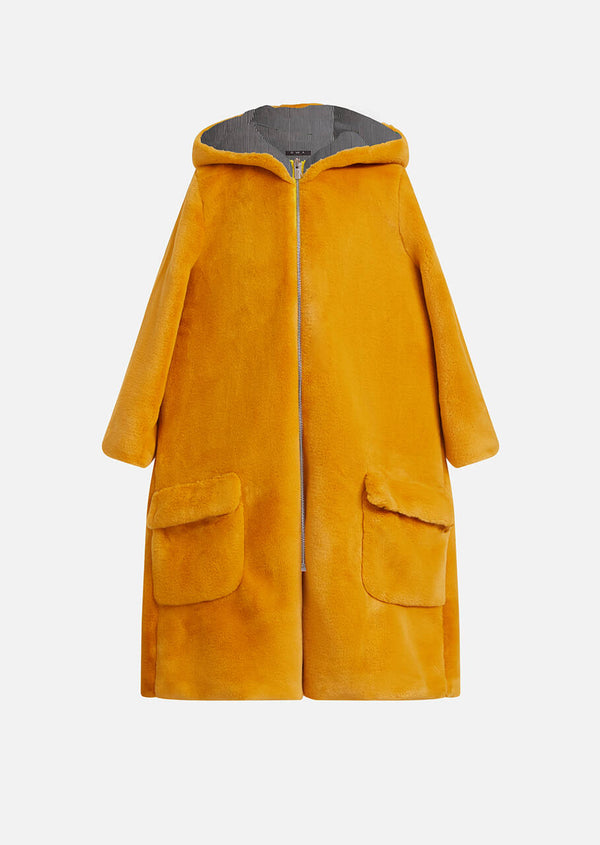Owa Yurika Millie girls faux fur hooded yellow coat yellow