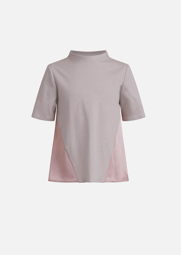 Owa Yurika girls pink grey frill satin top made in Japan