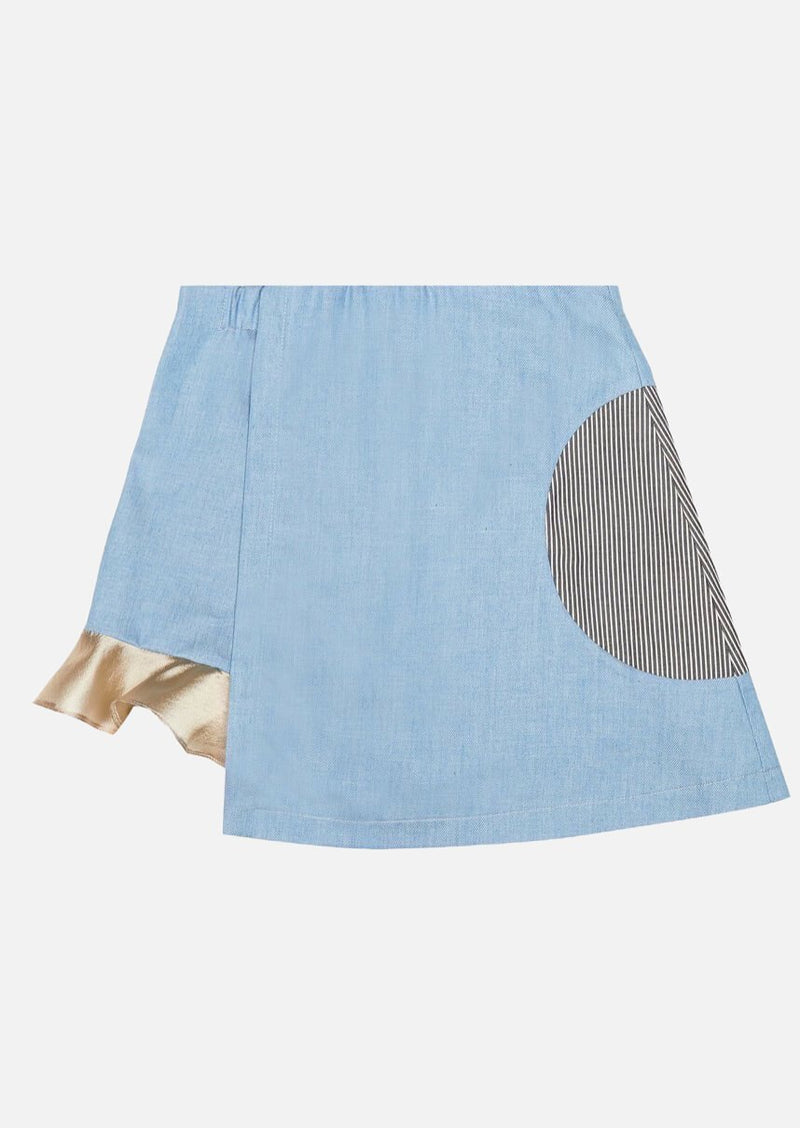 Girls Frill Hem Light Blue Denim Skort Japanese Children Clothing Owa Yurika