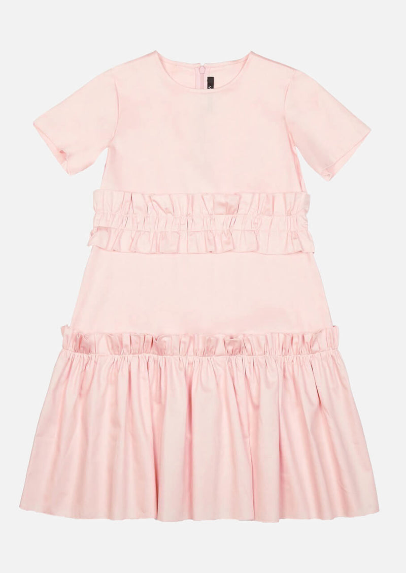 Girls Short Sleeve Pink Summer Tiered Dress Japanese Children Clothing Owa Yurika