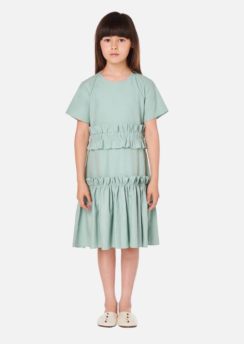 Girls Short Sleeve Mint Green Summer Tiered Dress Japanese Children Clothing Owa Yurika