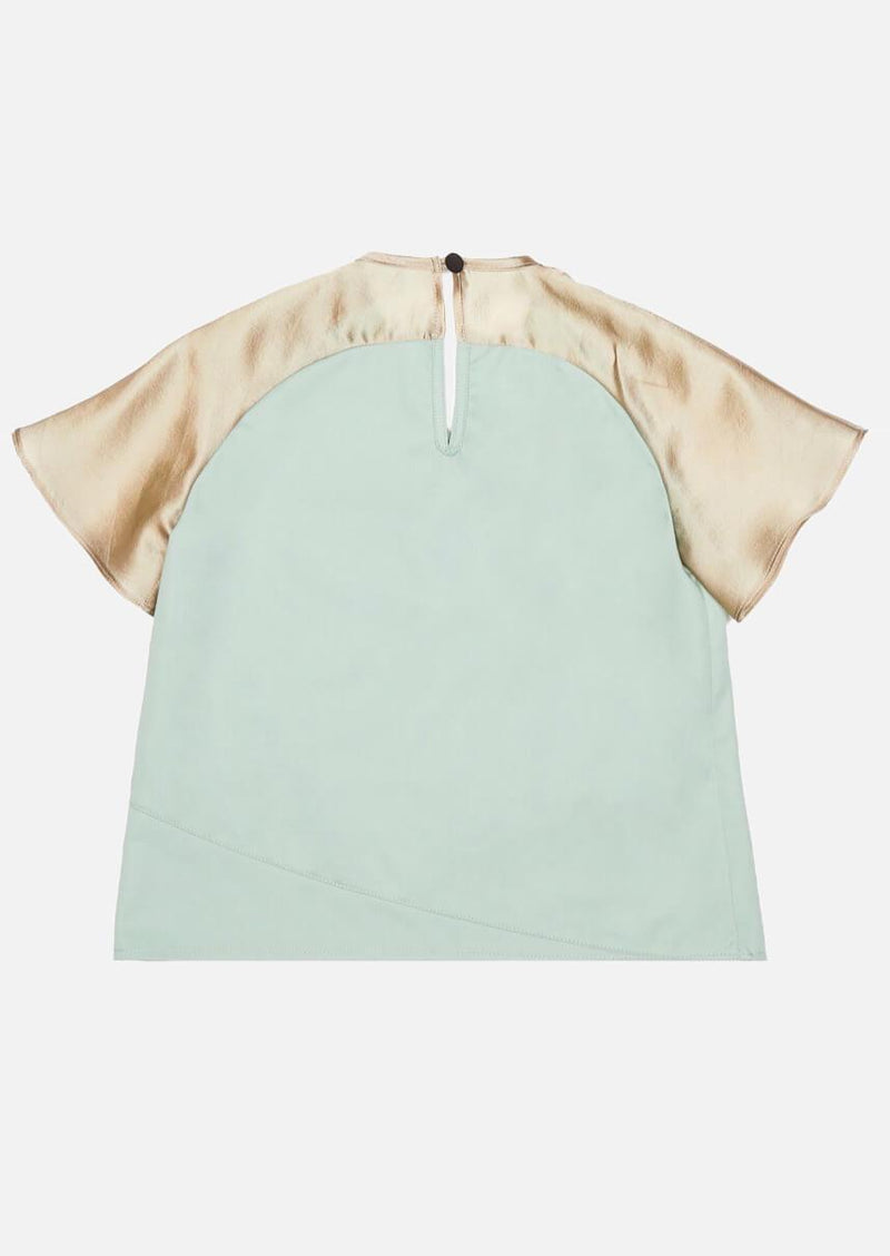 Girls champaign frill short sleeve mint green wrap top Japanese Children Clothing Owa Yurika