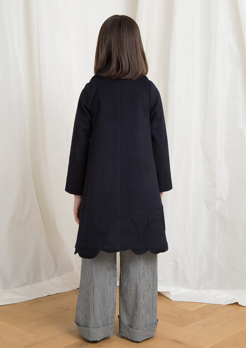 Owa Yurika Sakura girls wool navy coat