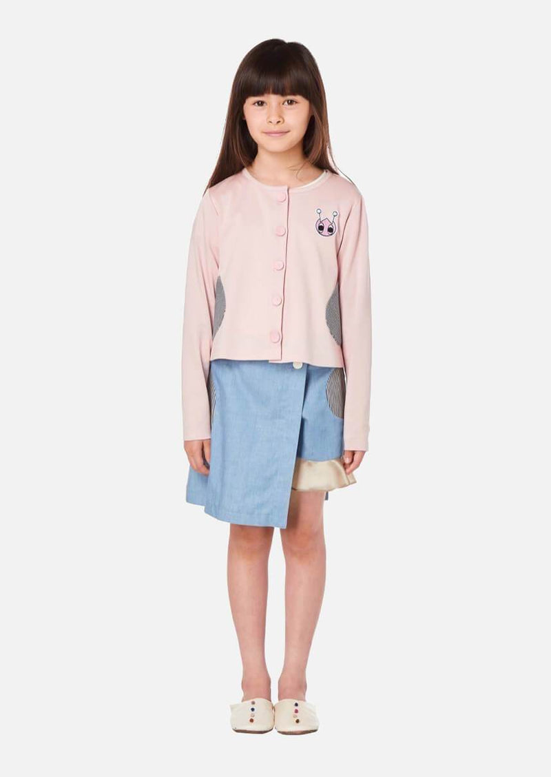 Girls pink cotton cardigan with stripe denim pocket Japanese Luxury Children Jacket Owa yurika