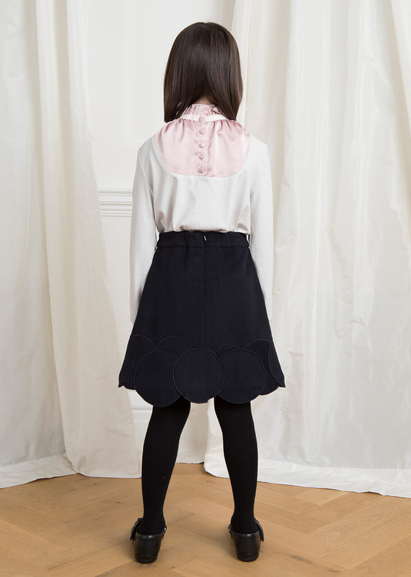 Owa Yurika Serri girls pink grey ruffled collar blouse made in Japan