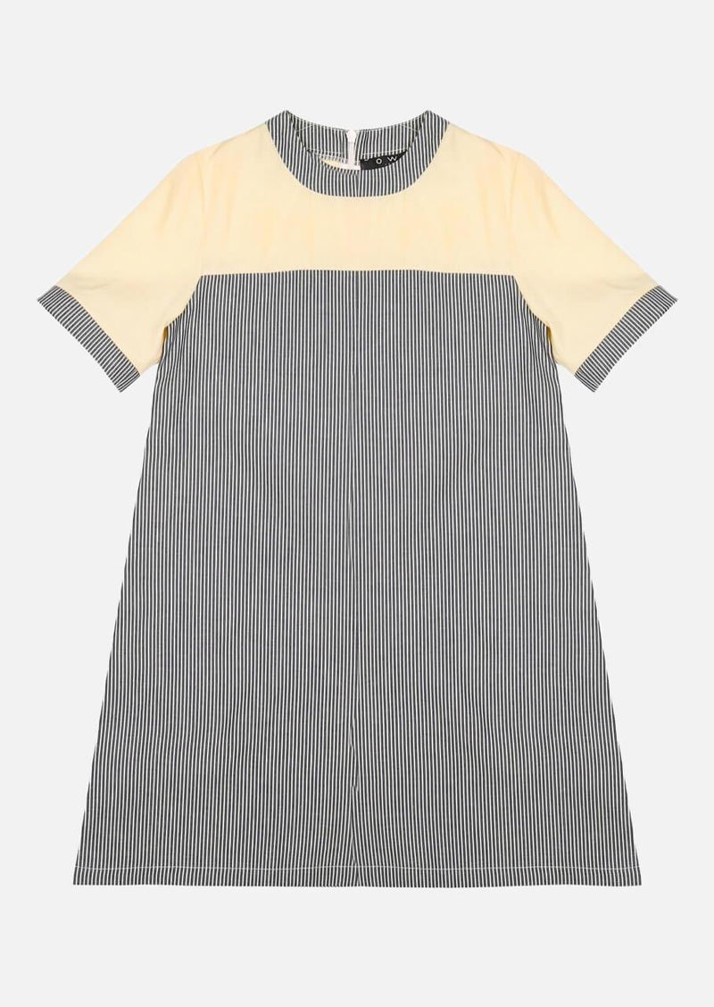 Girls Midi Stripe Denim Short Sleeve Yellow Dress Japanese Children Clothing Owa Yurika