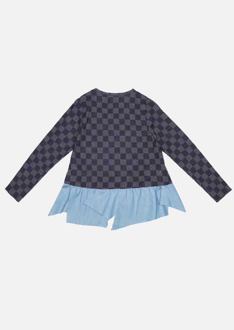 Children frill hem check denim jacket Owa Yurika Japanese Luxury Brand