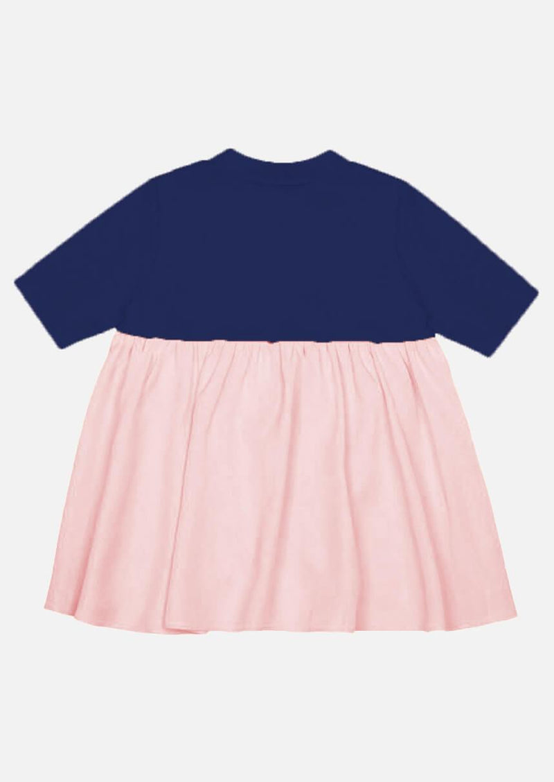 Girls pink side and back frill short sleeve navy T-shirt Children Tops Owa Yurika Japanese Luxury Brand