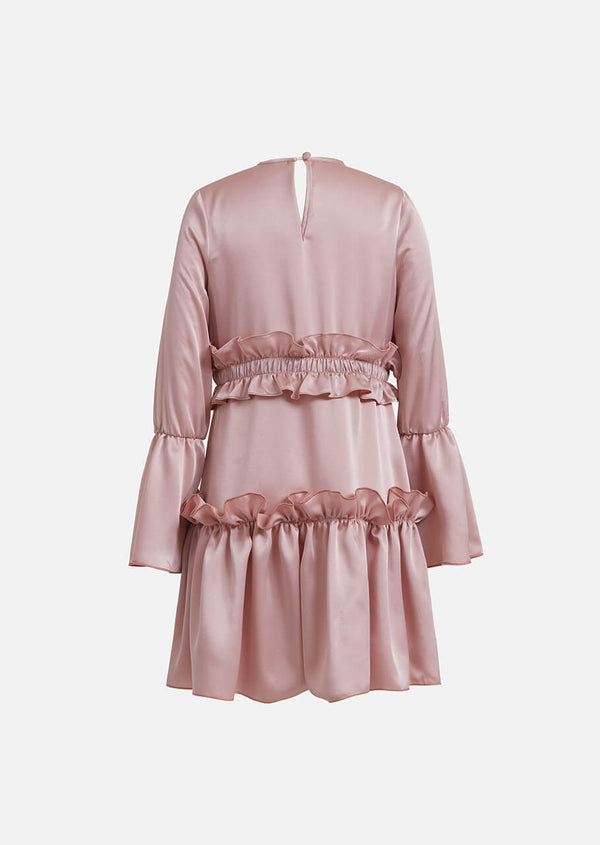 Owa Yurika Phoebe girls pink satin frill dress