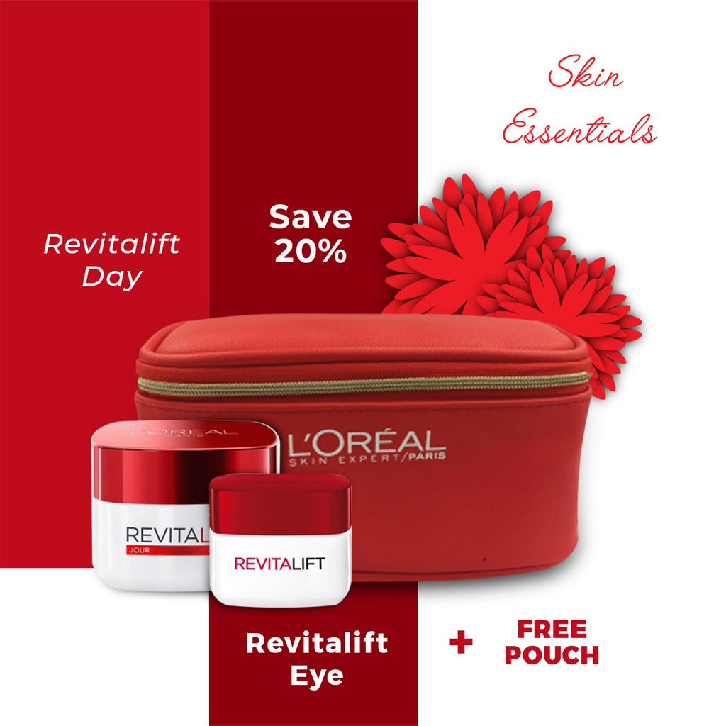 L'Oreal Paris Revitalift Day Cream + Eye Cream + Free Pouch - Save 20%!