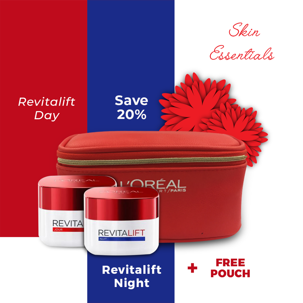 L'Oreal Paris Revitalift Day Cream + Night Cream + Free Pouch - Save 20%!