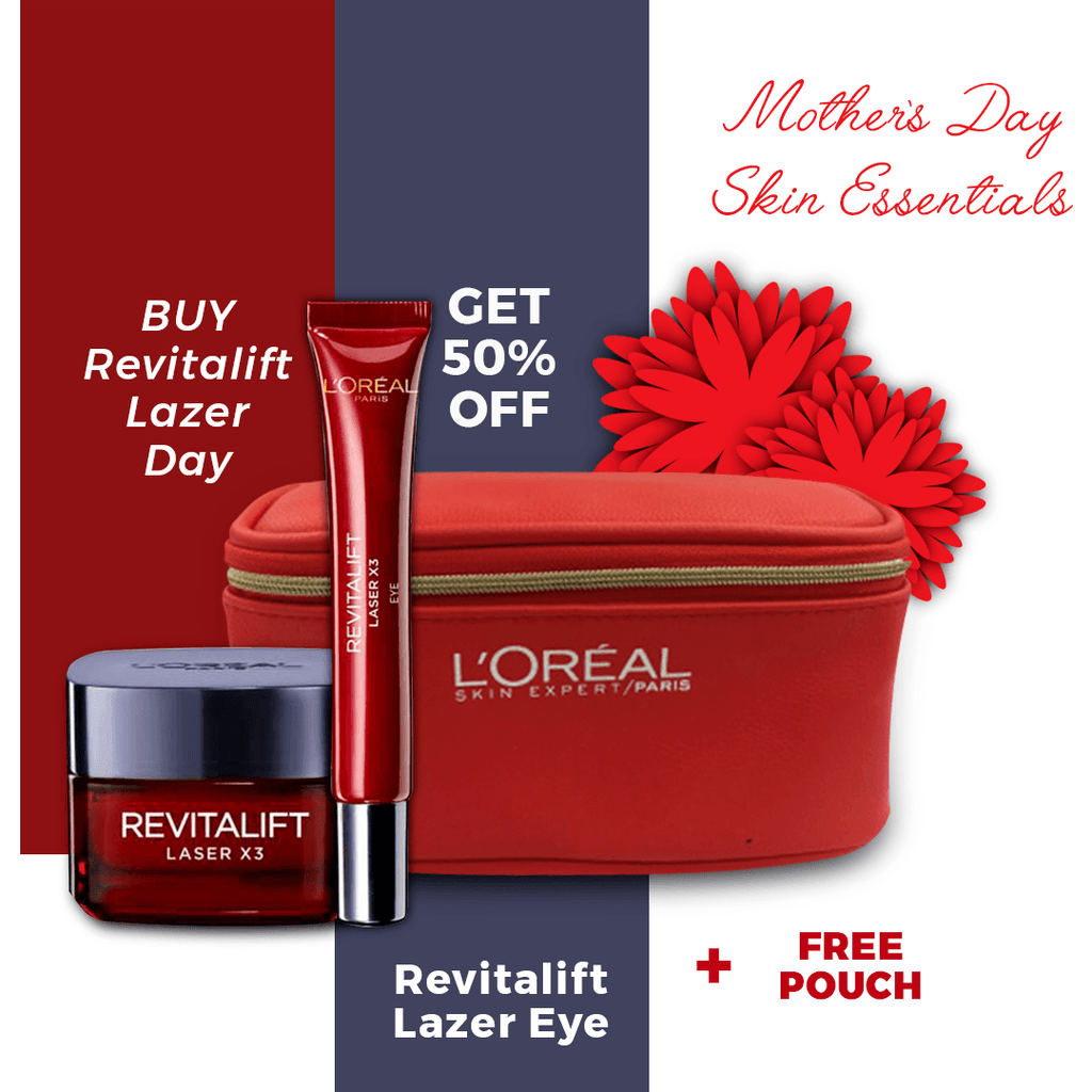 L'Oreal Paris Revitalift Laser SPF20 Day Cream + 50% on Eye Cream + Free Pouch