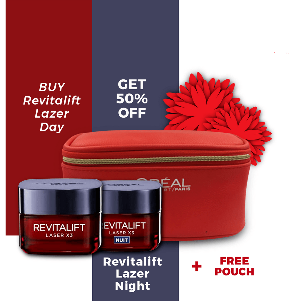 L'Oreal Paris Revitalift Laser Night Cream + 50% on Day Cream + Free Pouch