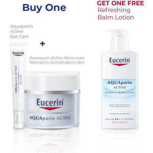 Eucerin Aquaporin Bundle: Face Cream (Normal Skin) + Eye Cream + FREE Body Lotion