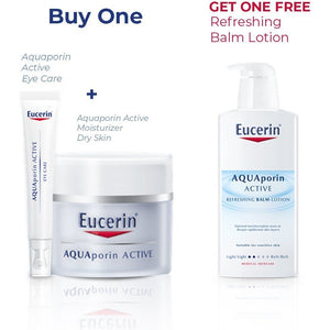 Eucerin Aquaporin Bundle: Face Cream (Dry Skin) + Eye Cream + FREE Body Lotion