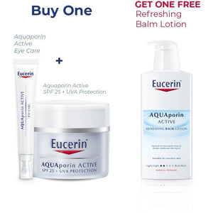 Eucerin Aquaporin Bundle: Face Cream (SPF25) + Eye Cream + FREE Body Lotion