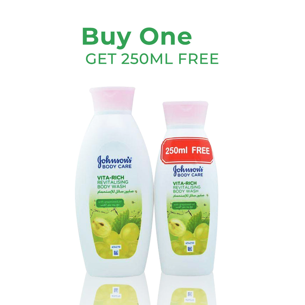 Johnson's Vita-Rich Soothing Body Wash Grapeseed Oil + 250ml Free
