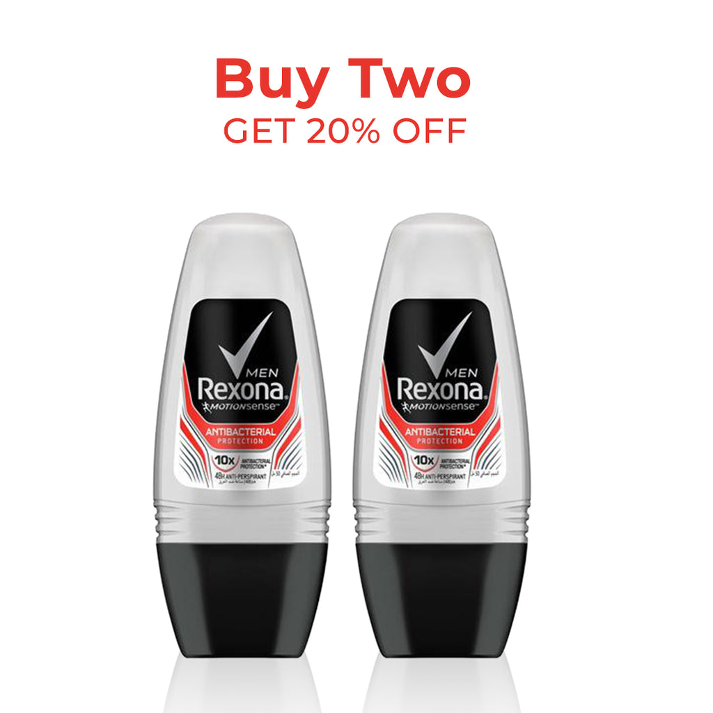 Rexona Men 10x Bacterial Protection Roll-On Deodorant - Buy 2 at 20%