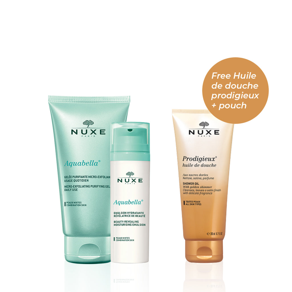 Nuxe Aquabella Set for Combo Skin: Exfoliate & Moisturize + FREE Shower Oil