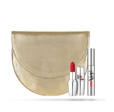 Pupa Milano Holiday 2019 Sets: Crescent Clutch  + Vamp! Mascara + Lipstick