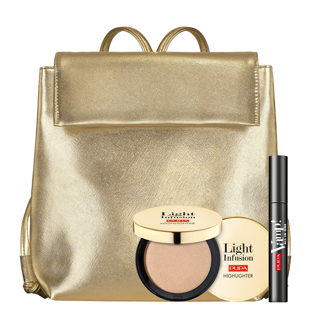 Pupa Milano Holiday 2019 Sets: Back Pack with Vamp! Mascara + Light Infusion Highlighter