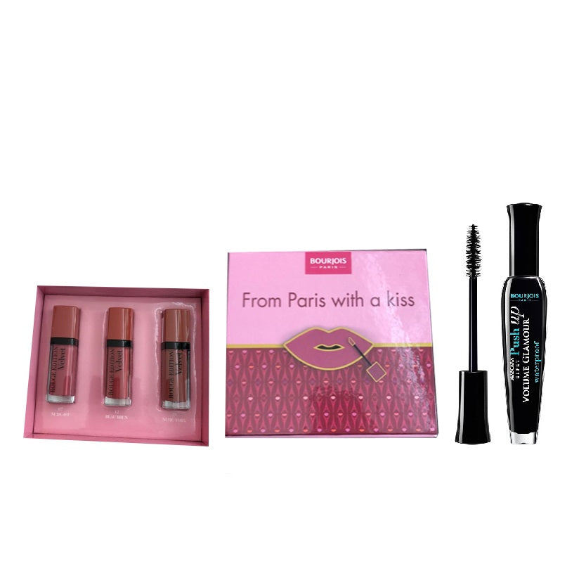 Bourjois Offer: Rouge Velvet Lip Kit & Waterproof Push Up Mascara 25% Off