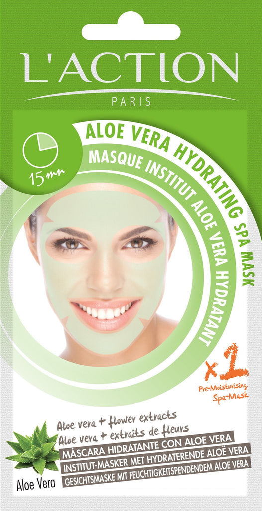 L'Action Paris Aloe Vera Hydrating Spa Mask - 2 per pack