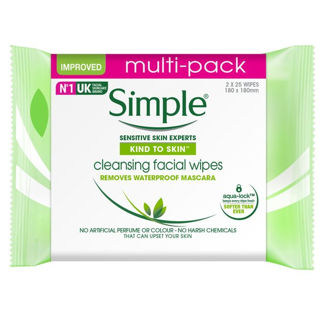 Simple Kind to Skin Cleansing Facial Wipes Twin Pack 2x25pcs