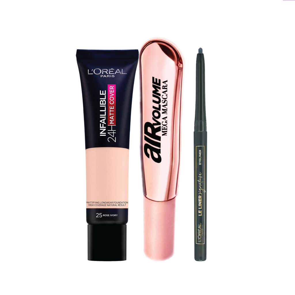 L'oreal Paris Natural Look Bundle 15% Off: Mascara + Eyeliner + Foundation