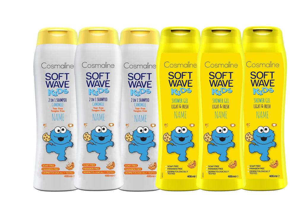 Cosmaline Soft Wave Kids Cookie Monster Bundle for Boys - Customize It With Any Name!