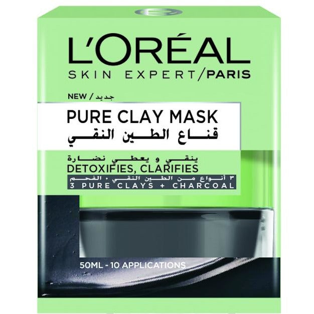 L'Oreal Paris Pure Clay Mask: Detoxifies & Clarifies - Charcoal