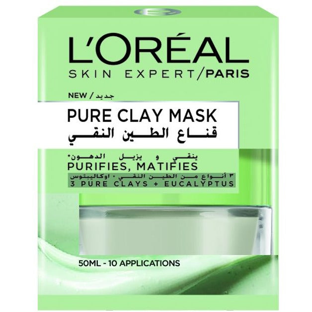 L'Oreal Paris Pure Clay Mask: Purifyies & Matifies - Eucalyptus
