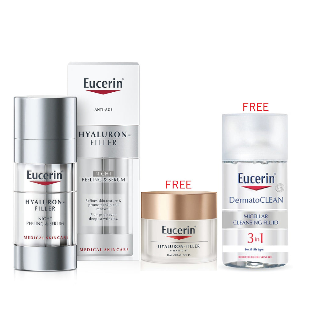 Eucerin Mother's Day Bundle: Hyaluron Filler Night & Peeling Serum + 2 Free Gifts!
