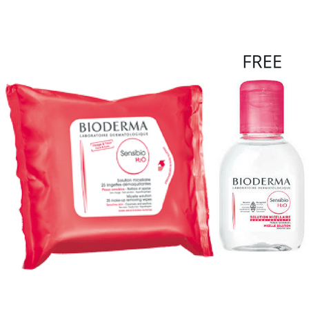 Bioderma Sensibio H2O wipes Micellar - 25 Wipes + Free 100ml Solution