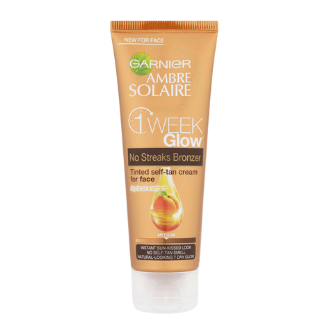 Garnier Ambre Solaire Natural Bronzer 1 week Glow - Tinted Self Tan Cream for Face