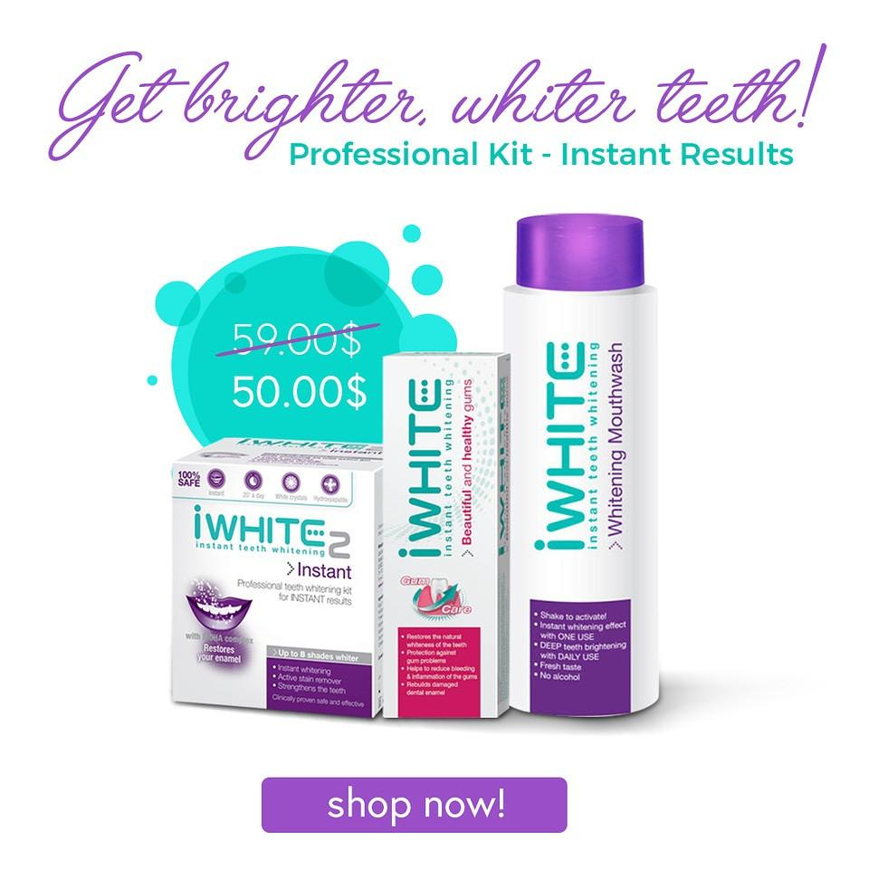 iWhite Bundle: Teeth Whitening Kit + ToothPaste + Mouthwash