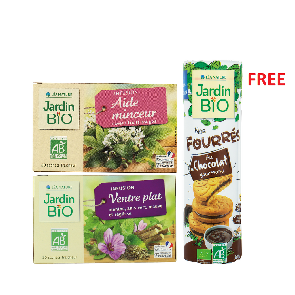 Jardin Bio Weight Control Bundle: 2 Herbal Tea + Free Biscuits Pack!