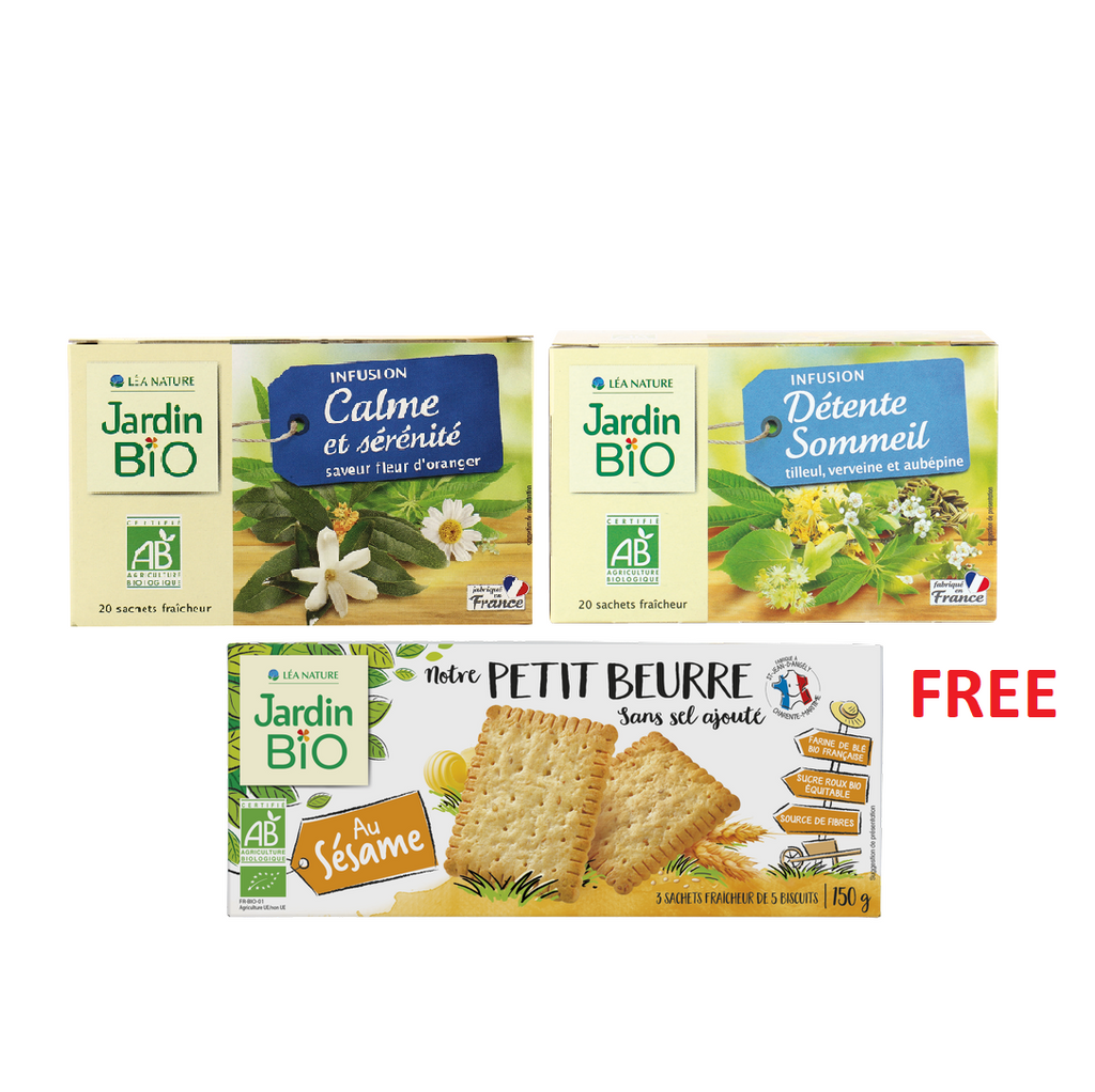 Jardin Bio Mind Detox Bundle: 2 Herbal Tea + Free Biscuits Pack