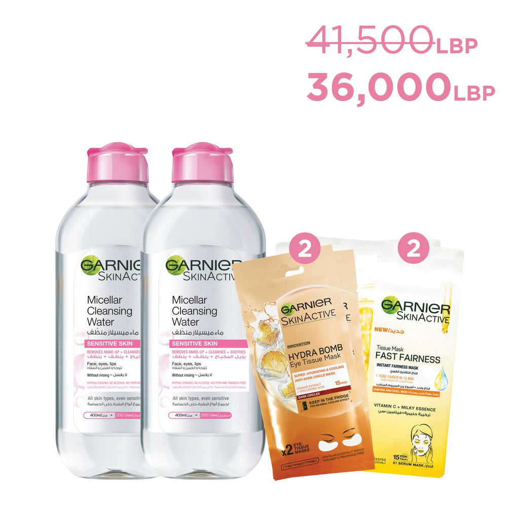 Garnier Micellar Water Anniversary Offer: 2 400ml & 2 Face Fairness & 2 Eye Masks 13% Off