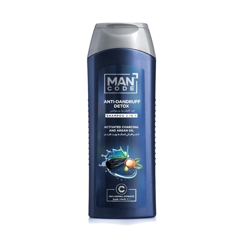 Mancode 2in1 Anti Dandruff & Detox Shampoo With Activated Charcoal 400ml