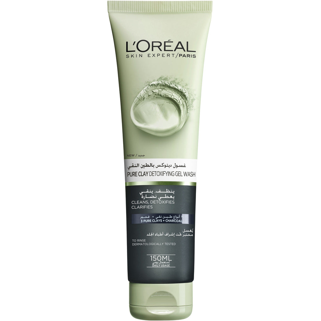 L'Oreal Paris Pure Clay Gel Wash: Detoxifies & Clarifies - Charcoal Detox Wash
