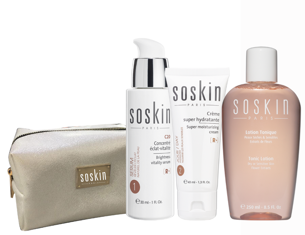 Soskin Hydration Set: Vitality Serum + Super Moisturizing Cream + Free Toner & Pouch