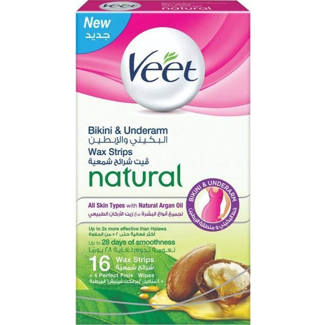Veet Bikini & Underarm 16 Wax Strips  + 4 Perfect Finish Wipes - All Skin Types