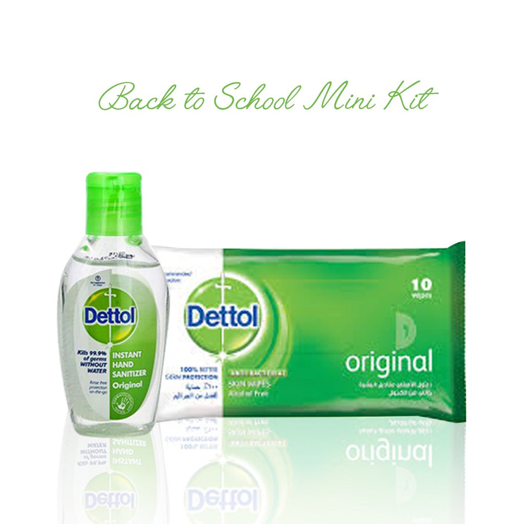 Dettol Back to School Mini Kit: 10 Original Wipes + Mini Hand Sanitizer