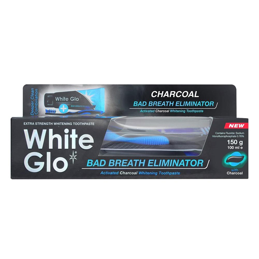 White Glo Charcoal Bad Breath Eliminator Toothpaste + Free Tooth Brush