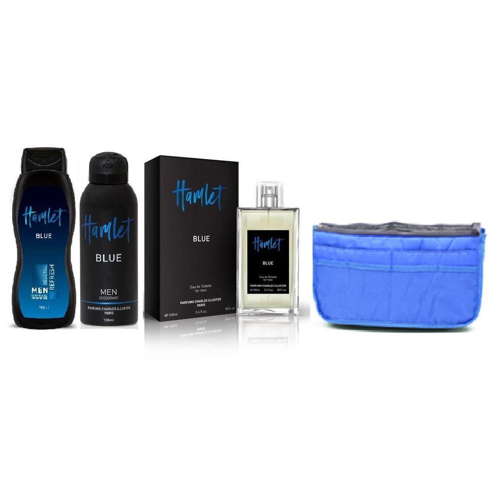 Hamlet Blue Gift set for Him with Multi Section Pouch
