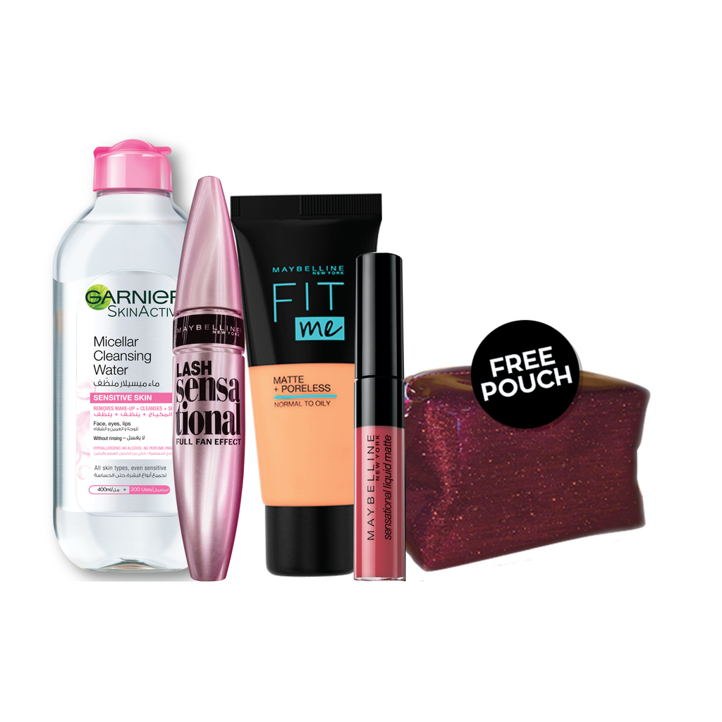 Maybelline Stay At Home Basic Makeup Look + Free Pouch